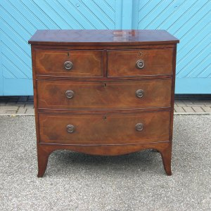 Georgian Mahogany Bow Fronted Chest of Small Proportions