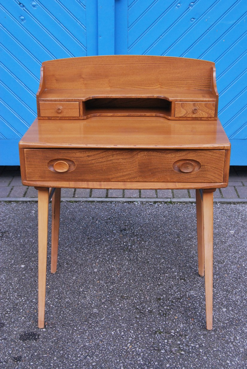 Rare 1960s Ercol Writing Table in Solid Elm with BeechLegs
