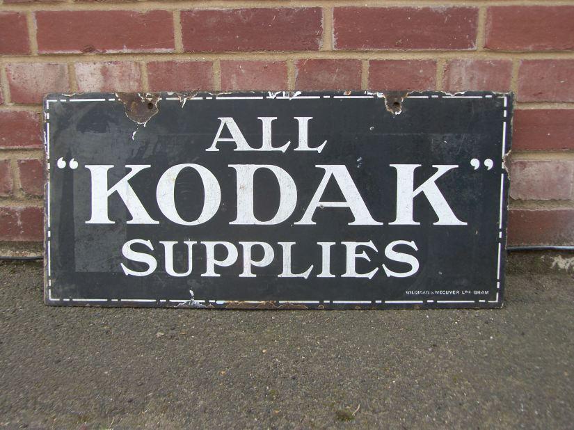 Original 'All Kodak Supplies' Double Sided Enamel Sign circa.1920s.