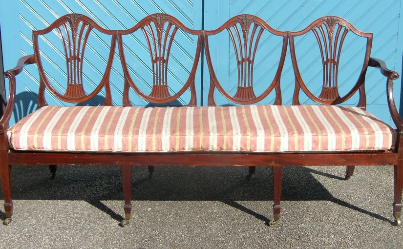 Rare Solid Mahogany Mid 19th Century Hepple White 4-seater Settee