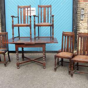 1920s / 1930s Solid English Oak Draw-Leaf Dining Table & 7 Chairs
