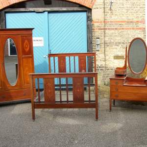 3 piece Edwardian Mahogany & Inlay Bedroom Suite, includes original Double Bed