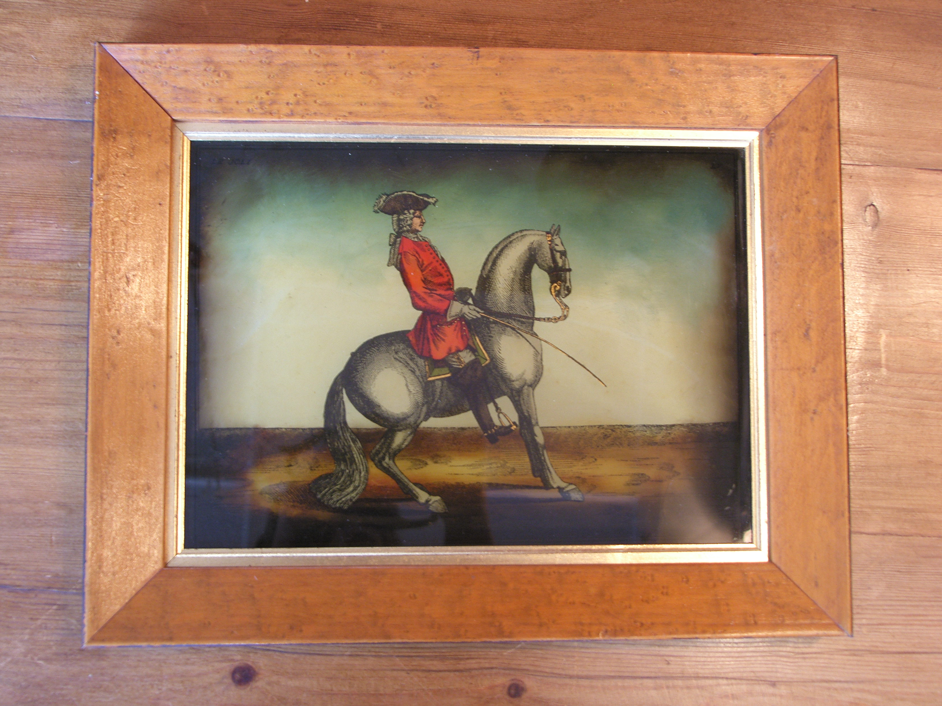 Set of 4 Early 19th Century Hand Coloured Glass Mezzotint Prints ...