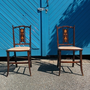 Pair of Original English Art Nouveau Bedroom Chairs