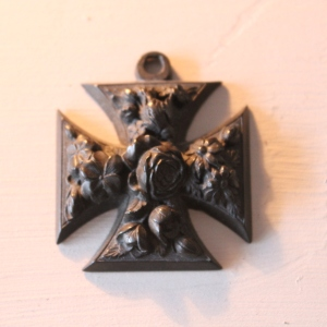 Decorative Victorian Vulcanite Cross Pendant